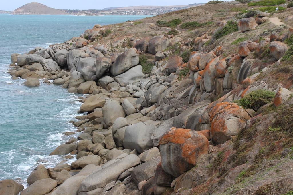 Huge granite boulders at Granite Island