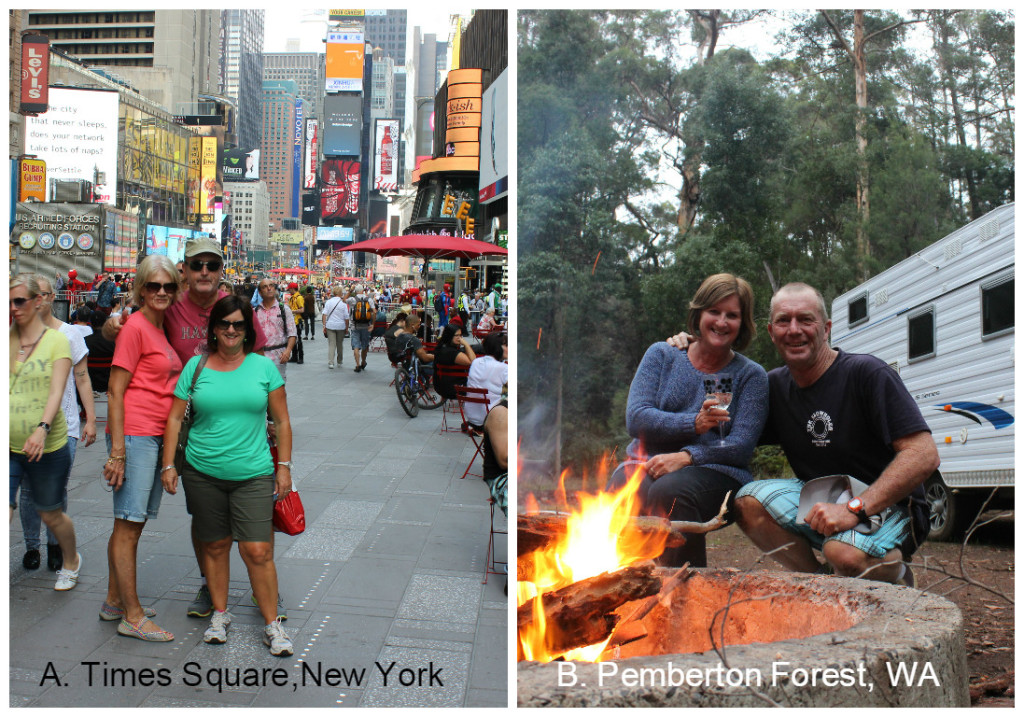 A. Times Square,New York or B. Bush camping at Pemberton