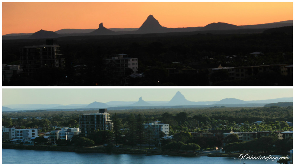 Views of Glass House Mountains at Sunset from Caloundra