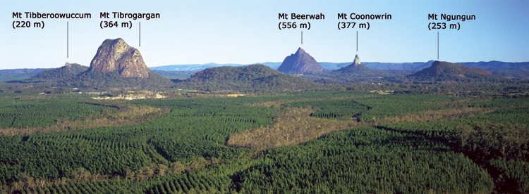 Some of the Glass House Mountains