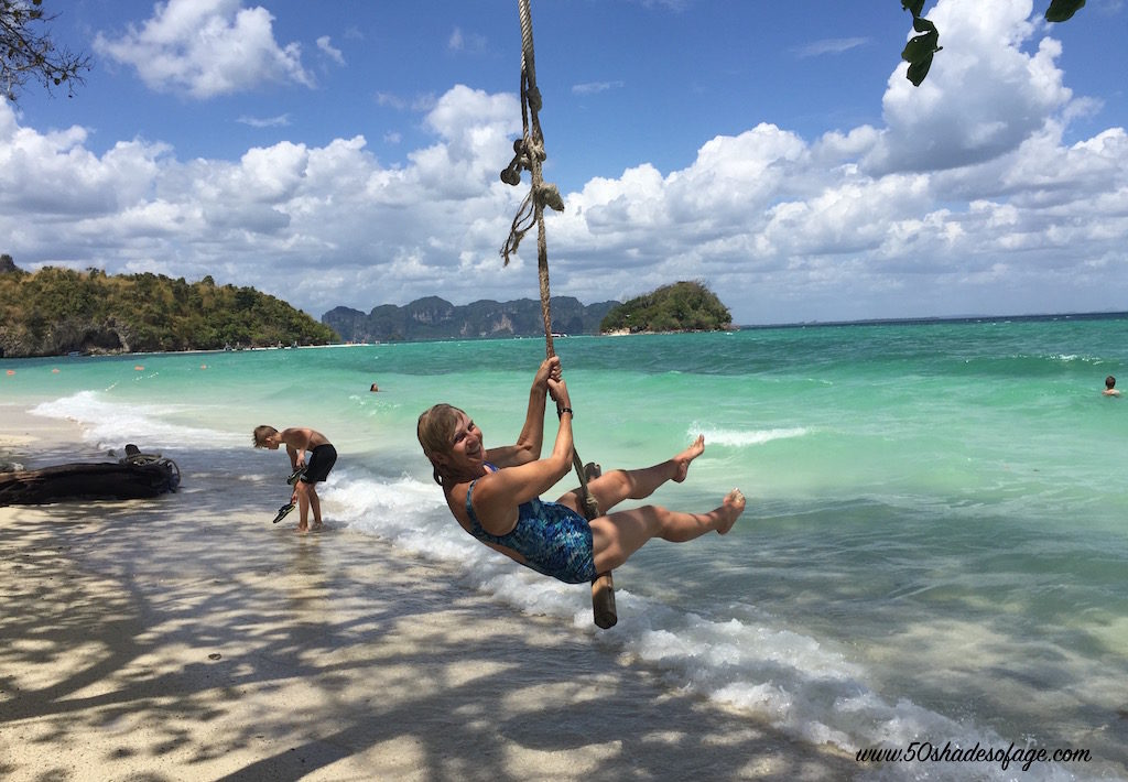 Having a swinging time at Chicken Island