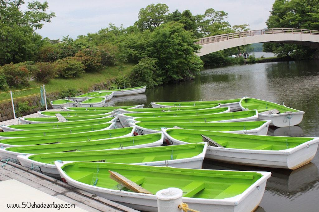 Bright Green Row Boats on Onuma Lake