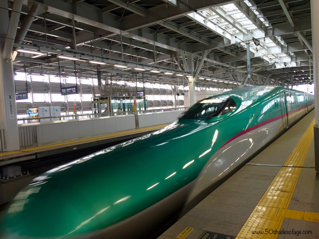 Shinkansen or Bullet Train coming into Shin-Aomori Station