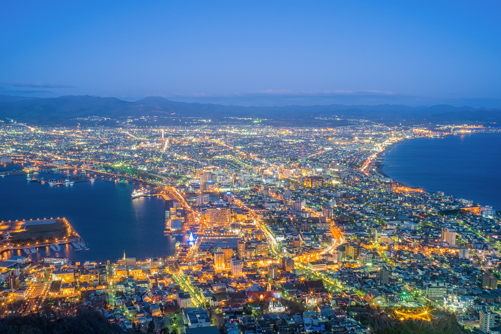 Views from Mt Hakodate over the city at night