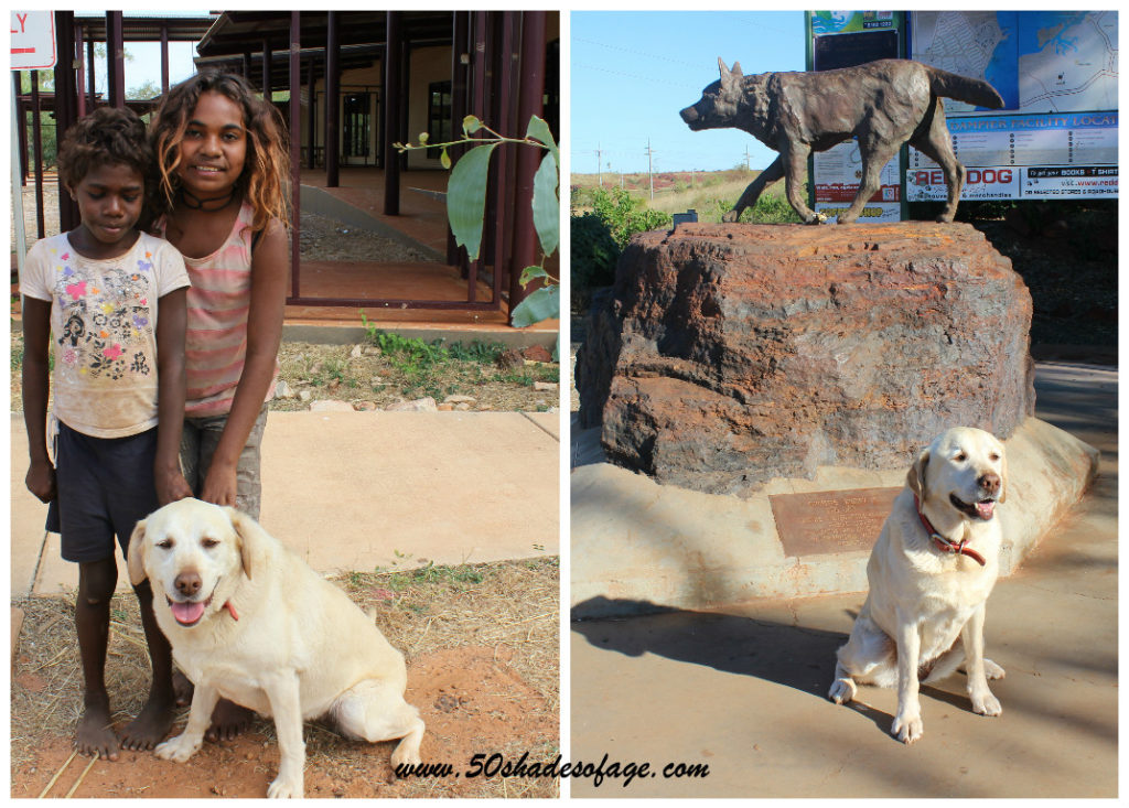 Jada with aboriginal children at Derby WA and with the famous Red Dog at Dampier WA