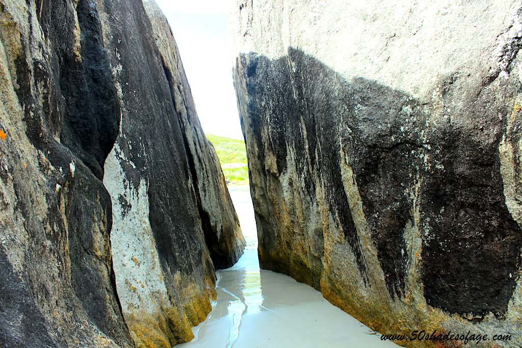 A Squeeze through the huge boulders to Elephant Cove