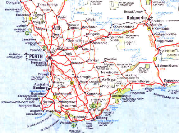 Map of South East Western Australia