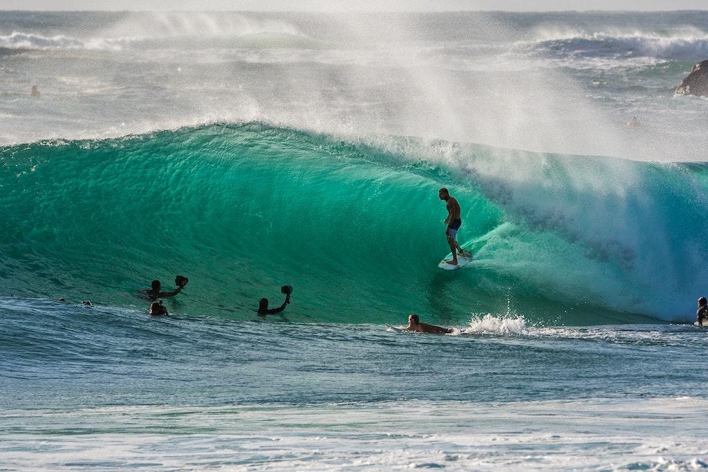Surfers at Duranbah on the Tweed Coast of Australia